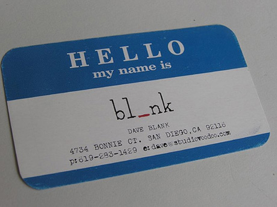 Dave Blank's Name Tag Business card