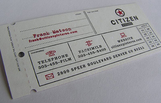 Frank Matson's Ticket Business Card
