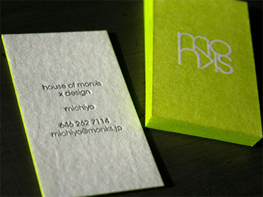 Michiyo, House of Monks' Neon Business Card