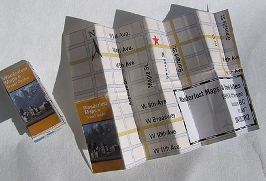 Wanderlust store, a folding business card