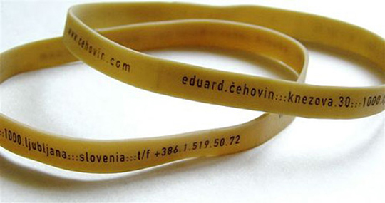 Eduard Cehovin's Rubber Band Business Card