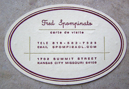 Post image for Fred Spompinato's Business card