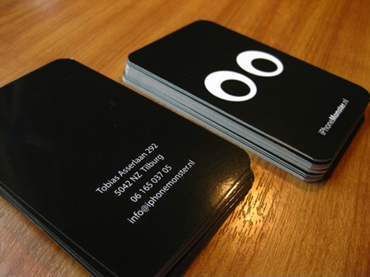 Black Glossy Business Card for iPhone Monster