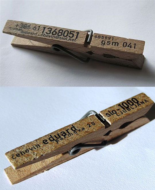 Eduard Cehovin's Clothespin Business Card