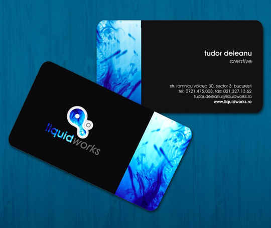 Cool Business Card Design for Liquid Works