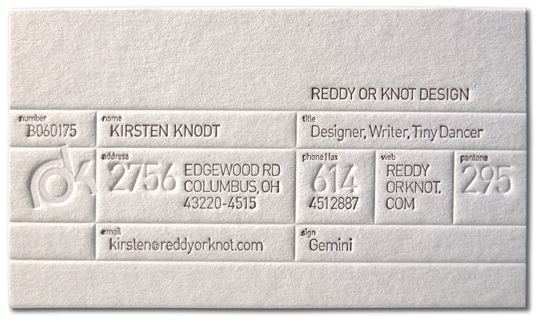 Post image for Reddy or Knot Design's Textured Business Card