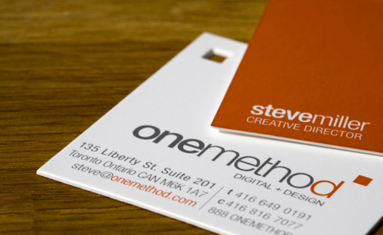 One Method's Die Cut Business Card