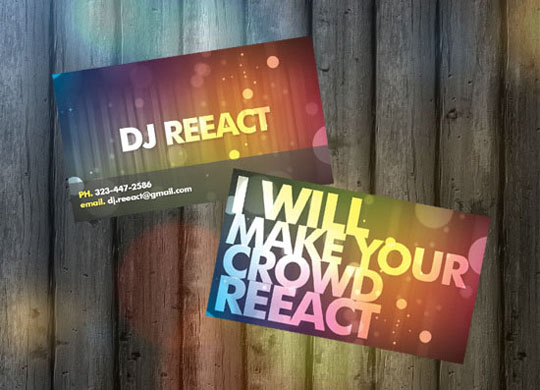 DJ React's Music Business Card