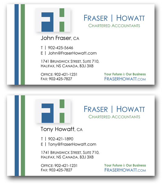 Simple Business Card Design – Fraser & Howatt Chartered Accountants