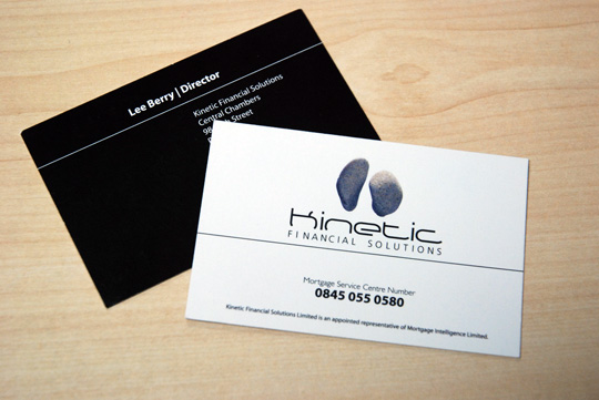 Minimalist Business Card Design for Kinetic Financial Solutions