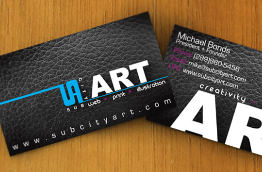 Sub City Art's Textured Business Card