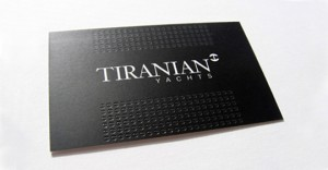 Tiranian Yachts Business Card Minimalist 300x156 Less is More: 15 Clean & Simple Minimalist Business Cards