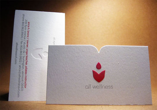 All Wellness Die Cut Business Card