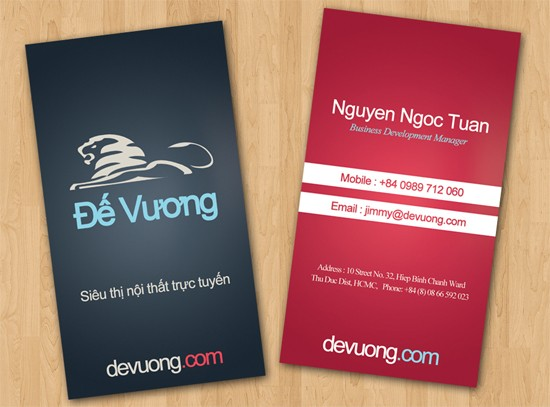 De Vuong's Double Sided Business Card