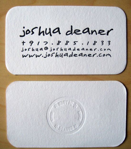 Joshua Deaner's Photography Business Card