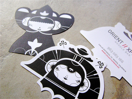 Orient Noodle Express' Die Cut Business Card