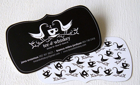 Tee and Whiskey's Die Cut Business Card