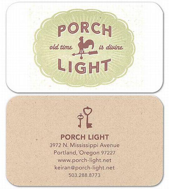 Porch Light's Letterpressed Business Card