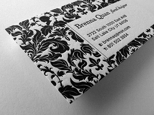 Brenna Quan's Letterpressed Business Card