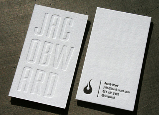 Jacob Ward's Letterpressed Business Card