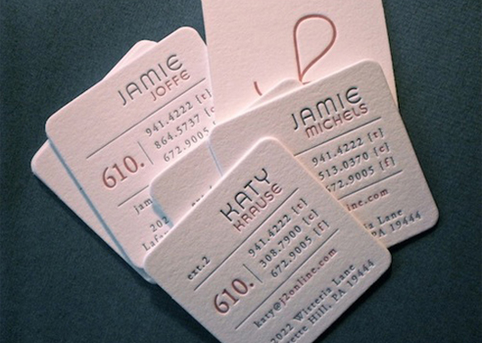 J2Online's Letterpressed Business Card