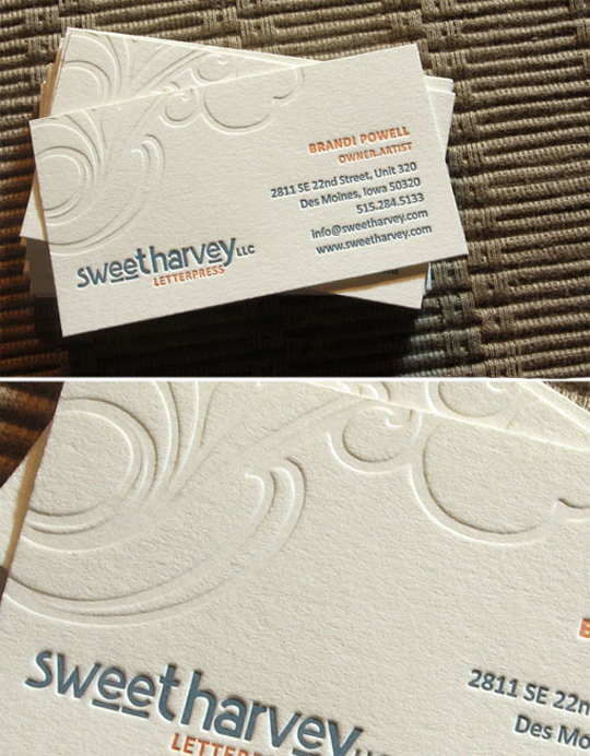 Sweet Harvey's Letterpressed Business Card