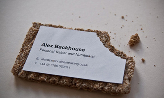 Alex blackhouse personal trainer business Printing On More Than Paper: Edible Business Cards