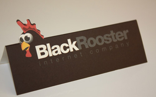 Black Rooster's Die Cut Business Card