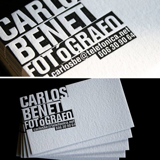 Post image for Carlos Benet's Photography Business Card