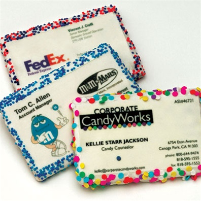 Business cards printed on edible material theres a cookie business card variety colourmoves