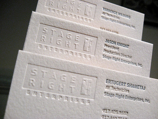 Stage Right Enterprises' Letterpressed Business Card