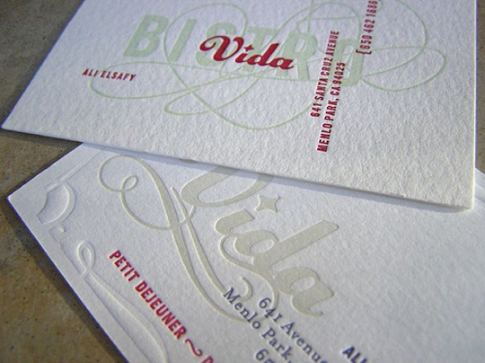 Bistro Vida's Letterpressed Business Card
