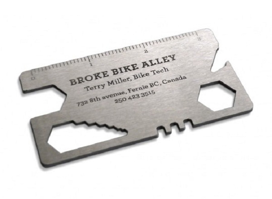 Broke Bike Alley's Metal Business Card