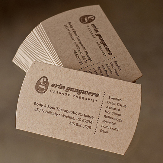 massage therapy business card ideas