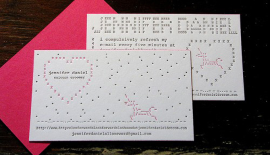 Jennifer Daniel's Designer Business Card