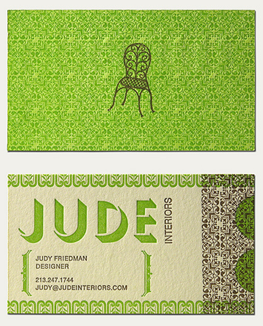 Jude Interiors' Textured Business Card