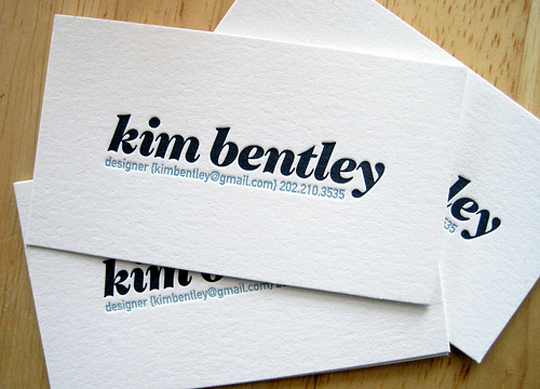 Kim Bentley's Designer Business Card