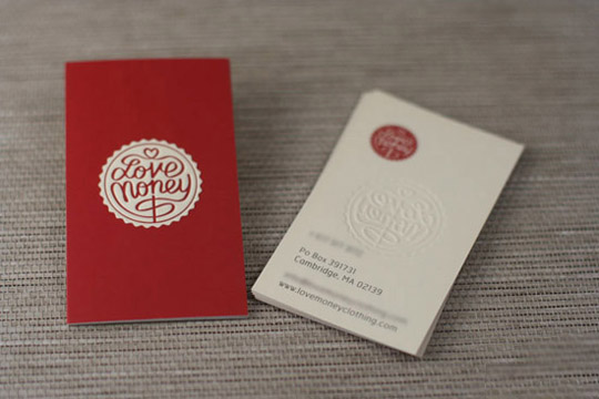 Love Money's Embossed Business Card
