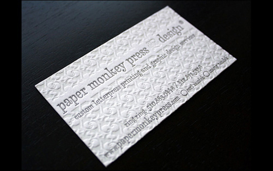 Paper Monkey Press' Letterpressed Business Card