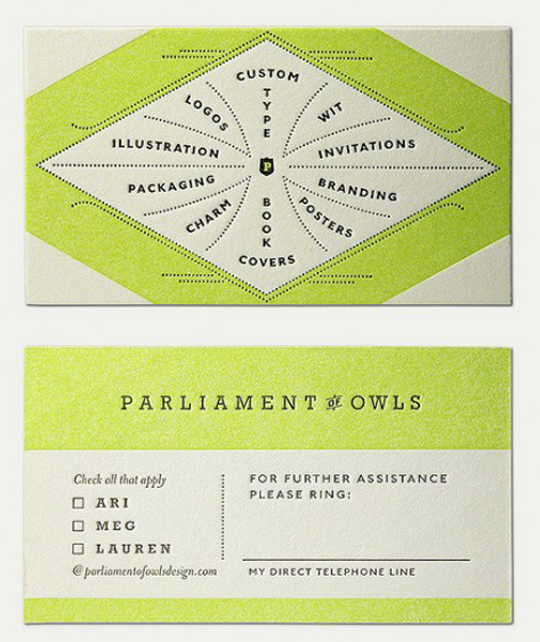 Parliament of Owls's Unique Business Card