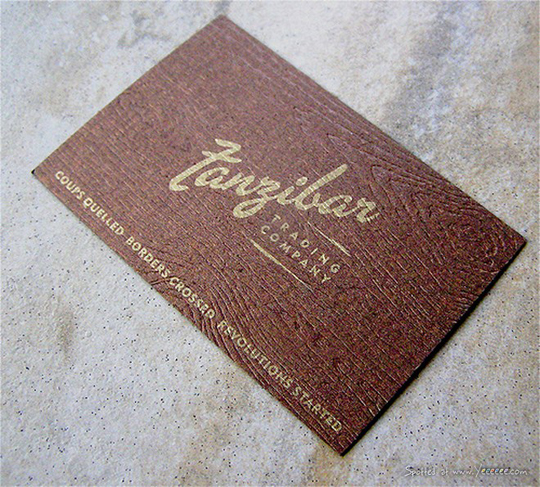 Zanzibar's Textured Business Card