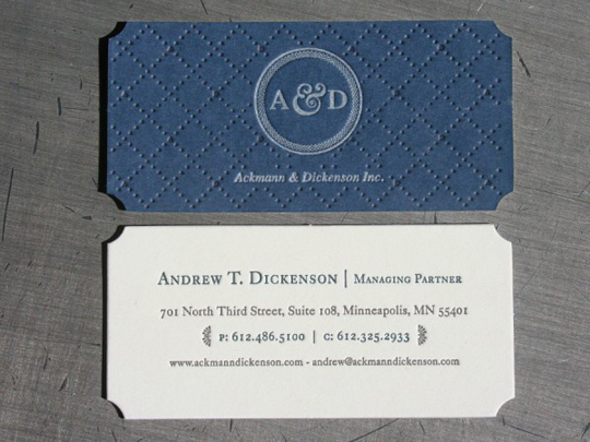 Ackmann and Dickenson's Letterpressed Business Card