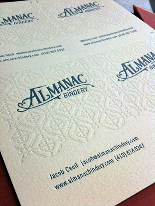 Almanac Bindery's Letterpressed Business Card