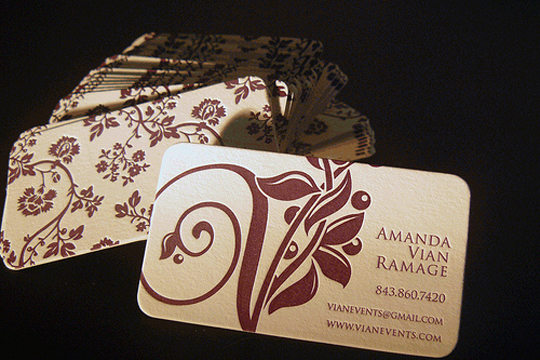 Vian Event's Letterpressed Business Card