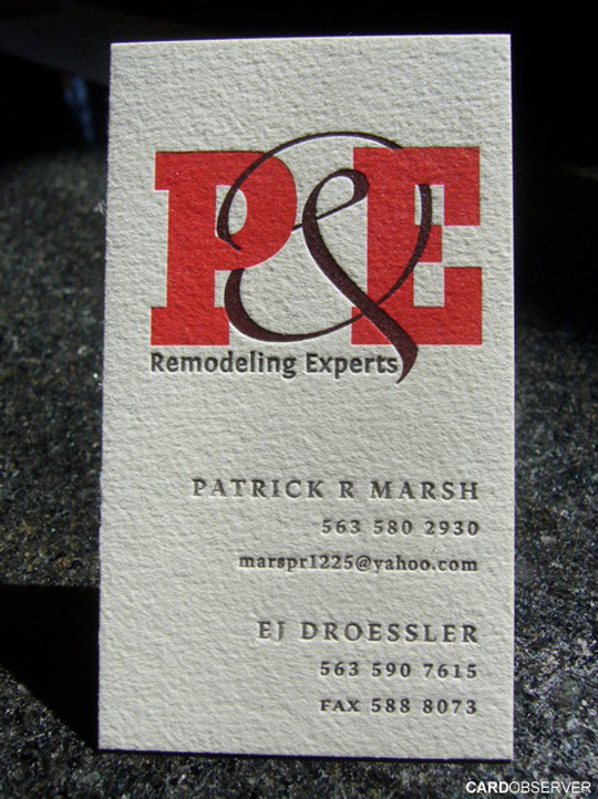 P&E Remodeling's Textured Business Card