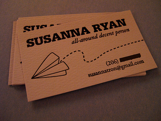 Post image for Susanna Ryan&#8217;s Simple Business Card