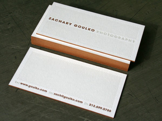 Zachary Goulko's Photography Business Card