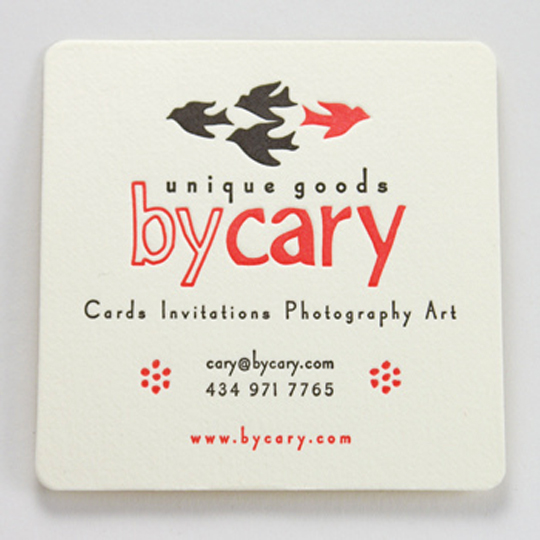 By Cary's Die Cut Business Card
