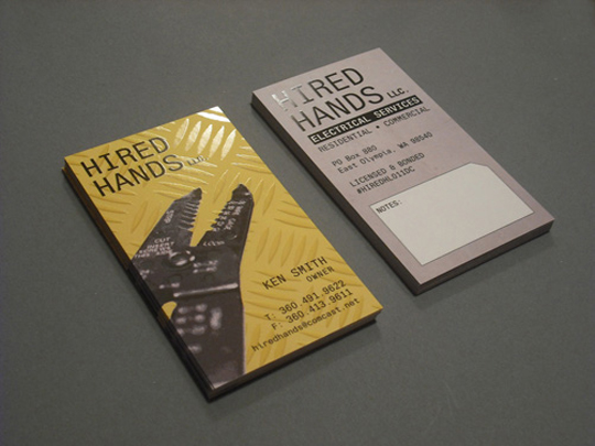 Hired Hands' Textured Business Card