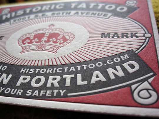 Historic Tattoo's Letterpressed Business Card